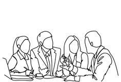 Business People Team Sit At Desk Together Communication Discussion Or Brainstorming Meeting Doodle. Vector Illustration stock illustration