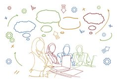 Business People Team Sit At Desk Together Communication Discussion Or Brainstorming Meeting Doodle stock illustration
