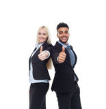 Business People Team Smile, Businessman And Businesswoman Hold Hand With Thumb Up Gesture Royalty Free Stock Photography