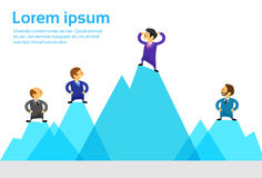 Business People Team Standing Top Peak of High. Mountain Climbing Up Flat Vector Illustration Stock Photo