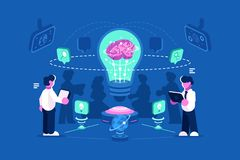 Business people team thinking and brainstorming. Business people team thinking a nd brainstorming. Team work process training of office staff. Increase sales and vector illustration