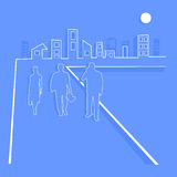 Business People Team Walks Towards the City Royalty Free Stock Image