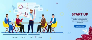 Business People Team Work on Start Up Technology. Office Work and Startup Development. Business People Team Working on Start Up Technology. Men Discussing on royalty free illustration