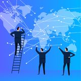 Business people team with world map connecting the dot for global communication. modern corporation company. Stock Photos