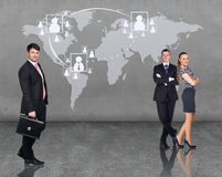 Business people team with world map Royalty Free Stock Photo