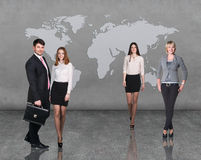 Business people team with world map Stock Image