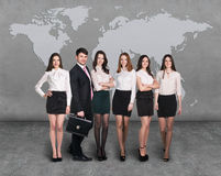Business people team with world map Stock Photography