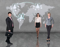 Business people team with world map Stock Images