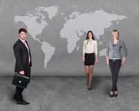Business people team with world map Royalty Free Stock Photos