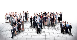 Business people team with world map Stock Photos