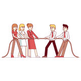 Business people teams in a tug of war competition Royalty Free Stock Images