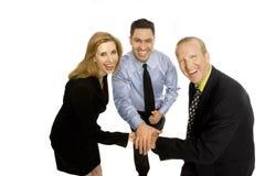 Business people teamwork. Three business people gesture teamwork Royalty Free Stock Photo