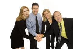 Business people teamwork. Four business people gesture teamwork Royalty Free Stock Image