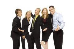 Business people teamwork. Five business people happily stand together Stock Photos