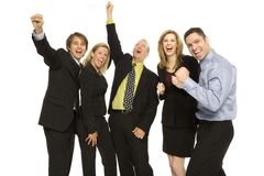 Business people teamwork. Five business people happily stand together Royalty Free Stock Image