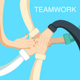 Business people teamwork concept with hands of coworkers Stock Photos