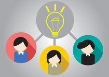 Business people for teamwork. Concept Business Teamwork idea bulb light Royalty Free Stock Photography