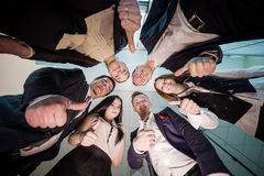 Business, people and teamwork concept - smiling group of busines Stock Photo