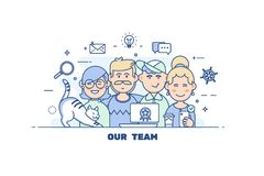 Business people teamwork.Flat line design style modern vector illustration concep. Stock Photo