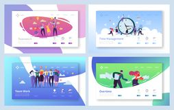 Business People Teamwork Landing Page Set. Creative Corporate Team Collaboration Work for Innovation Time Management. Strategy. Overtime Character Concept for vector illustration