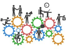 Business people teamwork on mechanism gears background stock illustration