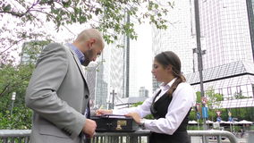 Business People Teamwork Outdoor. Video stock video footage