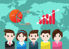 Business people for teamwork success. Concept graph business teamwork success in world background Stock Images