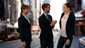 Business people telling stories on the street stock footage