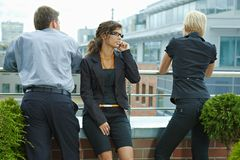 Business people on terrace Stock Image