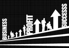 Business profit success. Illustrated silhouette of office professionals with text graphic business profit success and white arrows on black Royalty Free Stock Photos