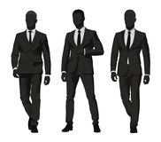 Business people. Three men in dark suits. Isolated vector silhouettes. Group of abstract businessmen vector illustration