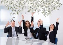 Business People Throwing Currency Note Royalty Free Stock Images