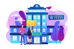 Lifestyle hotel concept vector illustration. Business people with thumb up for modern trendy lifestyle hotel. Lifestyle hotel, modern hospitality trend, cutting vector illustration