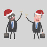 Business people toasting with champagne for Xmas. 3D Stock Image