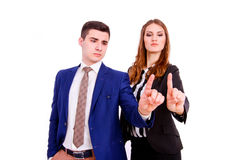 Business people  touching virtual screen Royalty Free Stock Image
