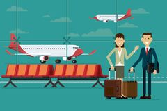 Business people travel with suitcases in airport terminal and pl Royalty Free Stock Photo