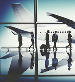 Business People Traveling Airplane Airport Concept Royalty Free Stock Photos