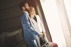 Business people traveling to business trip royalty free stock photo