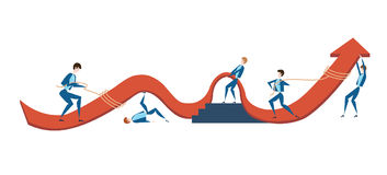 Business people are trying to raise the graph of growth of income of the company. The concept of teamwork. Vector Stock Image