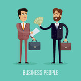Business People. Two Businessmen Make a Contract. Business people. Two businessmen in business suit and tie with briefcases making a contract. Conclusion of a Royalty Free Stock Images