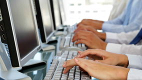 Business people typing stock footage