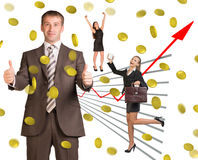 Business people under money rain Royalty Free Stock Photography