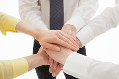 Business people uniting their hands - gesture of a uniion Royalty Free Stock Photo