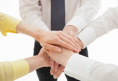Business people uniting their hands - gesture of a union Royalty Free Stock Photography