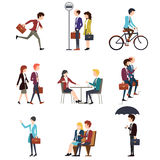 Business people in urban outdoor activity. Vector Royalty Free Stock Photos