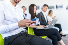 Business people use devices at conference room. Business People Meeting Corporate Digital Device Connection Concept royalty free stock photos