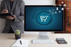 Business people use Technology Ecommerce Internet Global Marketi Royalty Free Stock Photo
