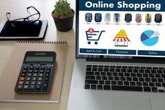 Business people use Technology Ecommerce Internet Global Marketi Royalty Free Stock Photography