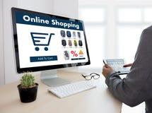 Business people use Technology Ecommerce Internet Global Marketi Royalty Free Stock Image