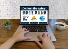 Business people use Technology Ecommerce Internet Global Marketi. Ng Purchasing Plan and Bank Concept Stock Photo